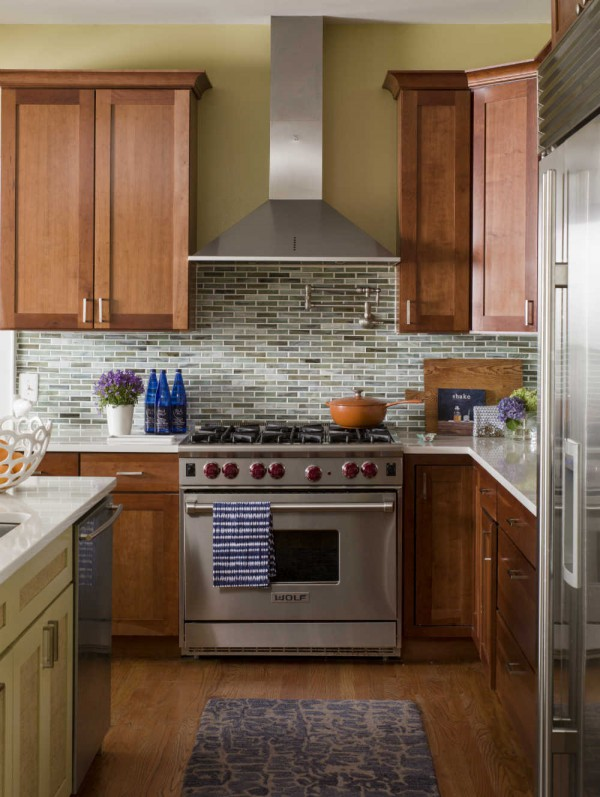 A glass mosaic backsplash adds interest to the kitchen. </br>(Arlington, Virginia)
