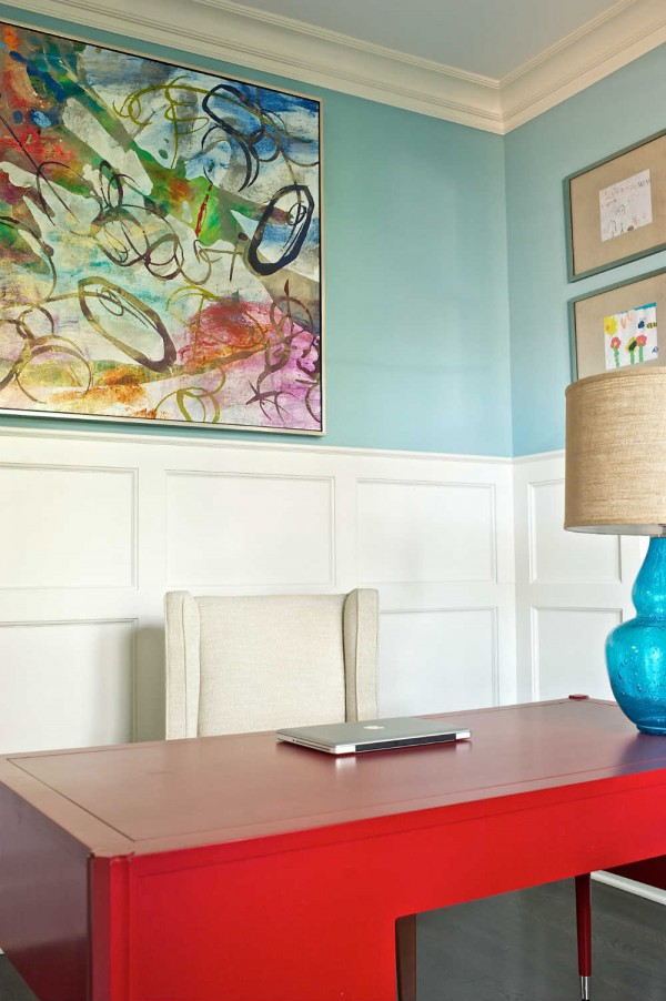 Impactful color establishes a joyful feel in this sleek but personal workspace. </br>(McLean, Virginia)