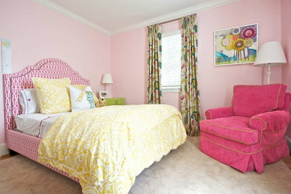 Color and pattern play bring an upbeat feel to this girls' room. </br>(Arlington, Virginia)