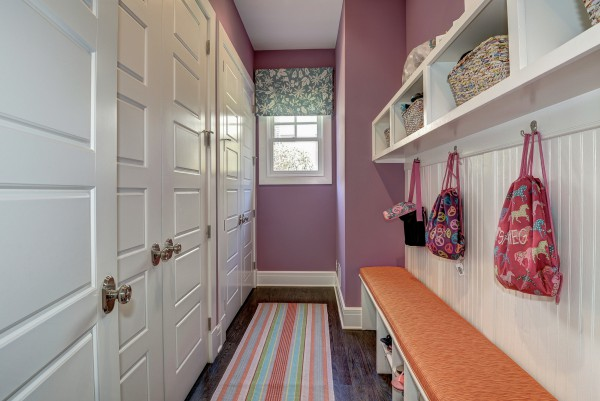 A playful and inviting mudroom for little girls on the go. </br> (McLean, VA)