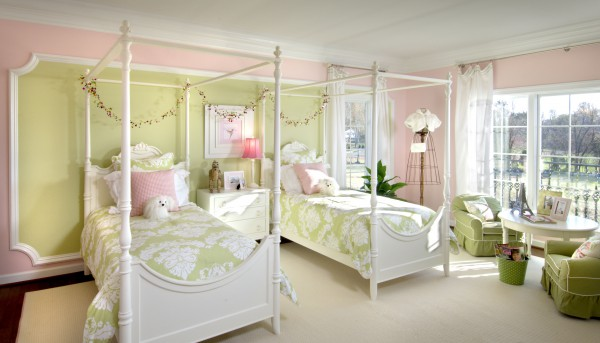 Subtle colors with a creative use of moulding and paint make this bedroom perfect for any little princess.  </br> (Bethesda, MD)