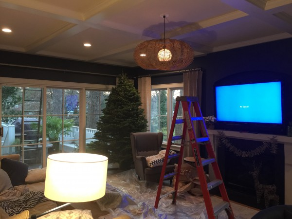We will trim the tree after we install a new light fixture.