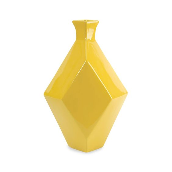An interestingly shipped yellow vase from Dot & Bo
