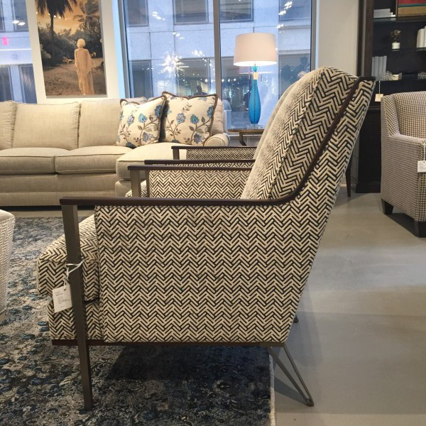 Kelly's favorite: a modern herring bone pattern on a sleek chair from xxxx.