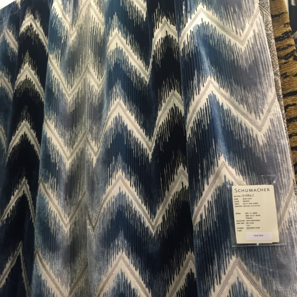 Sharon's favorite: an earthy chevron fabric from Schumacher.