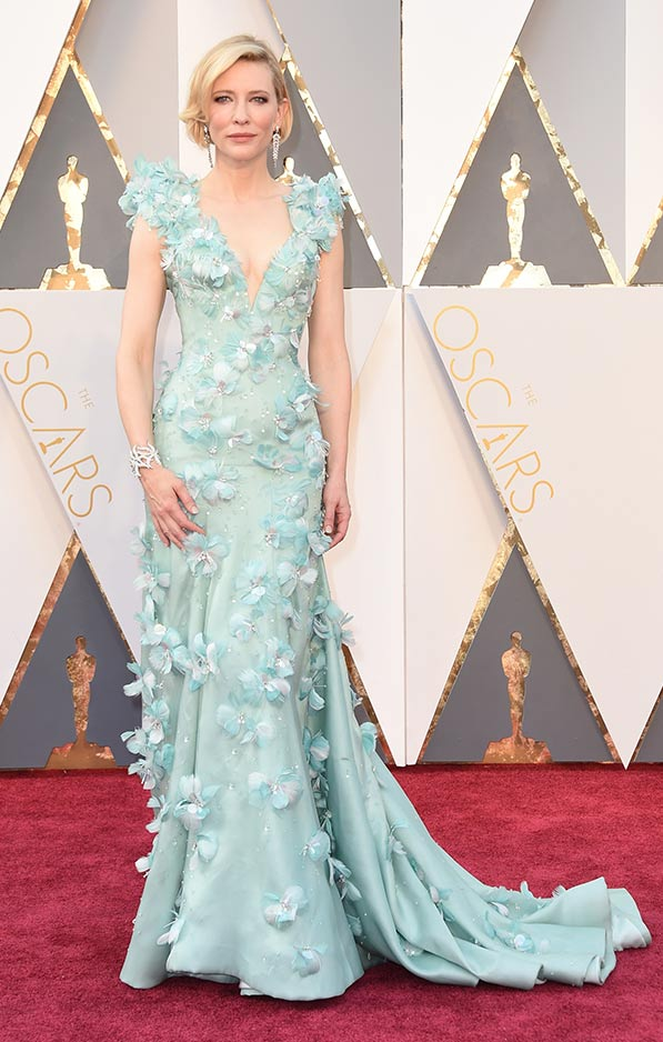 Cate Blanchett in soft green Armani Prive