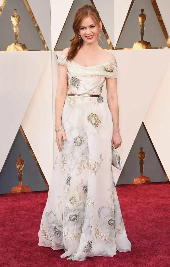Isla Fisher in soft Marchesa floral