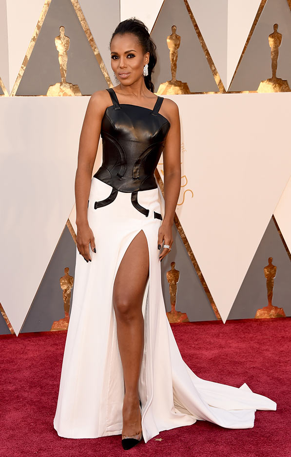 Kerry Washington in white skirt with striking black bodice by Versace.
