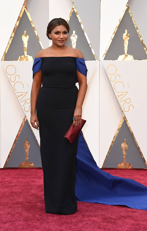 Mindy Kaling in black Elizabeth Kennedy gown with blue accents.