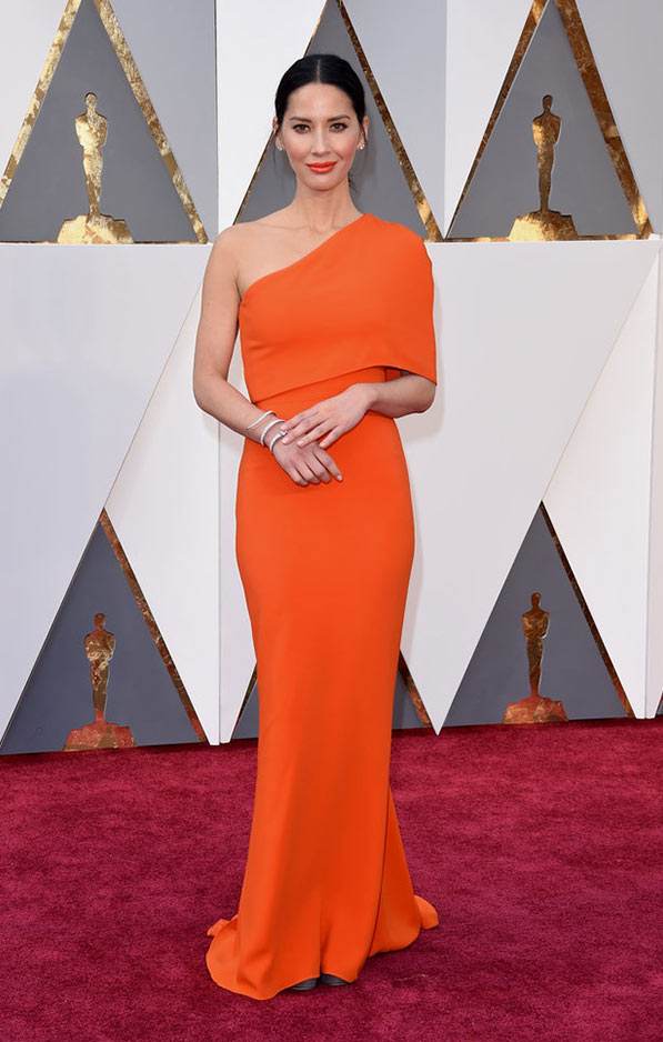 Olivia Munn in modern Stella McCartney