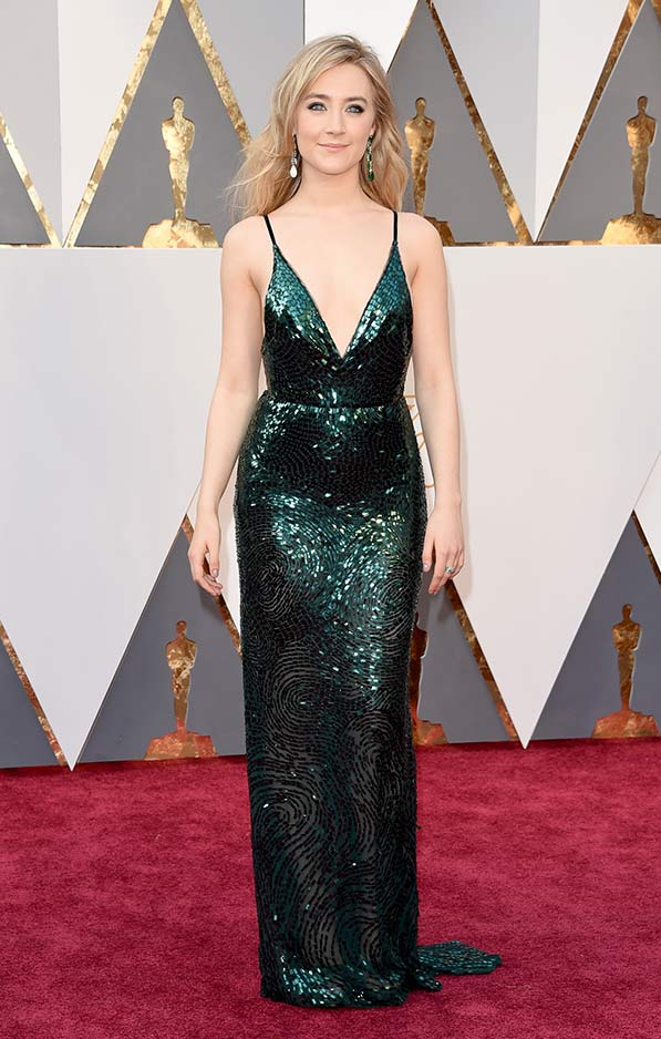 Saoirse Ronan in shimmering green Calvin Klein