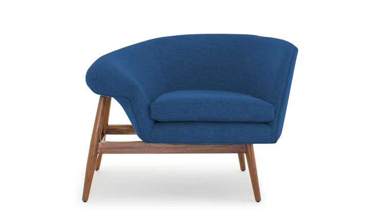We all loved this off-kilter Joybird Louie chair but Angie picked it as a favorite. Try a pair for great impact. Unique architectural lines on chairs was a big trend.