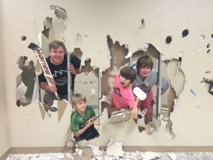 The Whittington boys do demolition well.