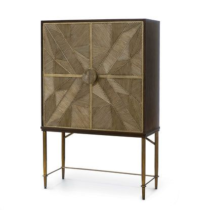 The statuesque Palacek Callahan Cabinet with shimmery gold doors.