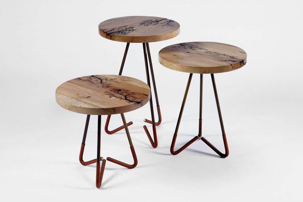 Old Wood Co Benton nesting tables with fractal burn patterns and leather wrapped legs.