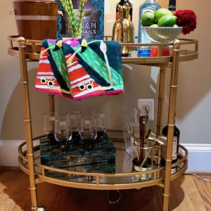 Get this awesome bar cart and support the Arlington Free Clinic!