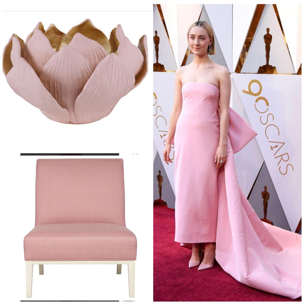 Saorise Ronan in petal pink silk.