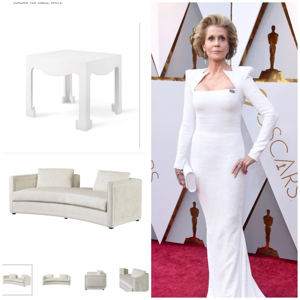 Jane Fonda is exquisite in her structured Balmain gown.