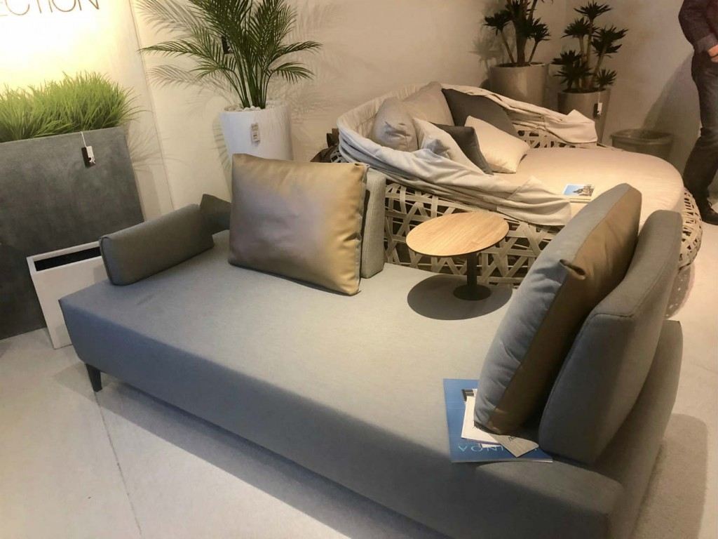 The Flexi sofa by Couture Jardin in marine-grade leather. Remove the tables and re-position the cushions to create a couch (or multiple other configurations).